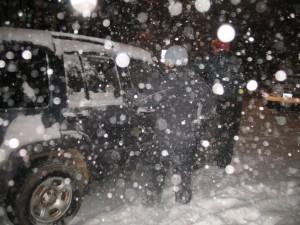 Falling snow.