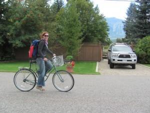 Woman on a bike.
