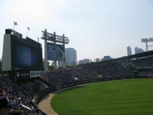 Doosan Bears vs LG Twins. The teams share Jamsil Baseball Stadium so it was a home game for both teams.