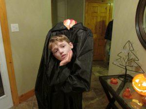 Boy dressed as Headless Horseman.