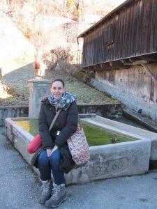 Woman sitting in Fanas, Switzerland.
