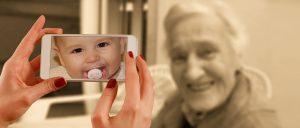 Smart phone and senior woman.