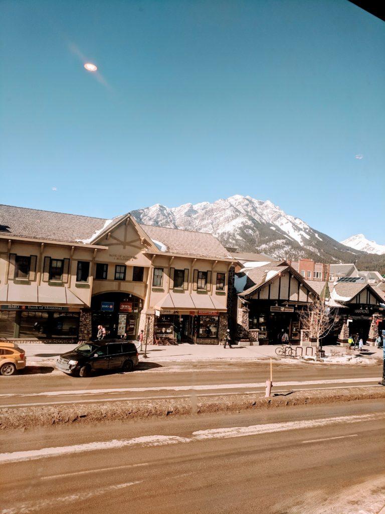 Street shot of downtown Banff, March 2019.
