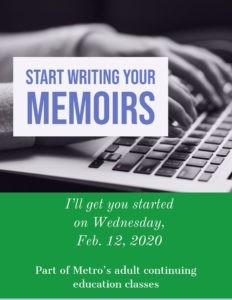 An ad for a winter 2020 memoir writing course.